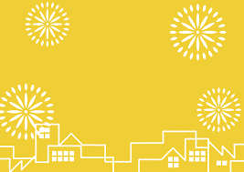 夏祭り 町並み 花火 黄色 背景 イラスト 無料 無料イラストの