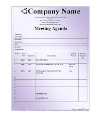 Sample Agenda Forms Sample Agenda Template For Board Meeting Iso