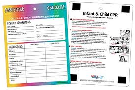 Babysitter Information Buy Babysitter Information With Infant Child Cpr