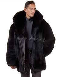 the hudson mid length black fox fur coat for men
