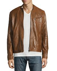 john varvatos star usa laser cut leather racer jacket brown