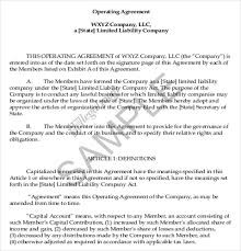 example short form operating agreement templates sample operating agreements short form
