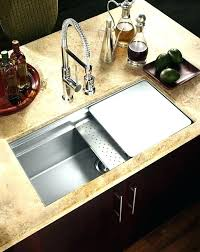 sink cutting board stainless steel with colander dish rack and integrated strainer kitchen