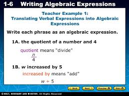 holt ca course 1 1 6writing algebraic expressions teacher example 1 translating verbal expressions