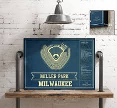 Milwaukee Brewers Seating Chart Miller Park Milwaukee Brewers Miller Park Vintage Mlb Seating Chart Fine