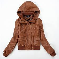 brown faux leather jacket hooded biker er zip hoo coat outwear women lady in