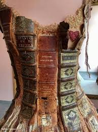dress made with the spines of old books