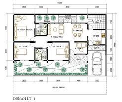 denah rumah 1 lantai 3 kamar: Desain rumah minimalis 1 lantai 3 kamar tidur design rumah minimalis