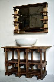 wooden pallet vanity and mirror bathroom furniture pallets