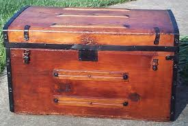 red all wood civil war flat top antique steamer trunk for 661