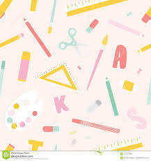 Letters Stationery Bright Colored Seamless Pattern With School Supplies Or Stationery