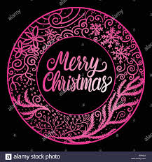 Cool Pink And Black Background Merry Christmas Lettering Inscription Pink Color Round Frame Winter