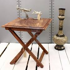 Sheesham Bedroom Furniture Square Folding Table Hand Carved Top Sheesham Wood Side Table