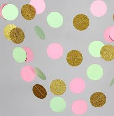 10 Feets Wedding Garland Pink Mint Green Glittler Gold Paper