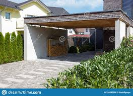 Contemporary Carport Design Wooden And Modern Carport Stock Photo Image Of Exterior