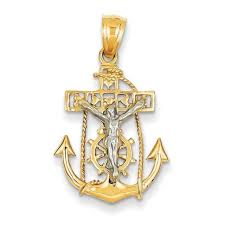 14k two tone gold mariners cross charm polished pendant 29mmx17mm
