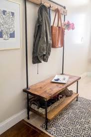 Industrial Coat Rack Bench Industrial Pipe Entryway Storage Bench With Coat Rack And Waved 80