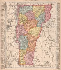 Details About Vermont State Map Showing Counties Rand Mcnally 1912 Old Antique Chart