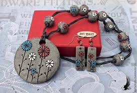 clay polymer beaded necklace pendant earrings jewelry