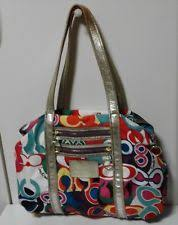 Coach Poppy Colorful C Print Tote Large Gold Glitter Leather Accents