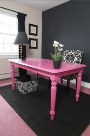 incredible pink office desk beautiful home. Paint A Dining Room Table Fun Bright Color To Use As Desk. Pink And Black Room, Chalkboard Wall, White Home Office, Teen Bedroom Incredible Office Desk Beautiful N