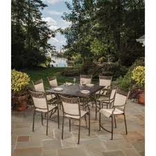 bali 9 piece sling outdoor bar height dining set
