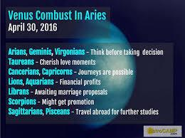 Venus Combust In Birth Chart Venus Combust In Aries April 30 2016