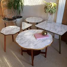 small marble effect vintage coffee table s petite table