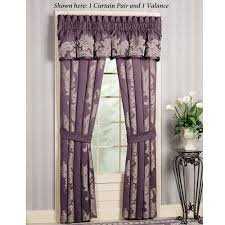 interior purple gray curtains for glass windows having white wooden bars and frame placed on