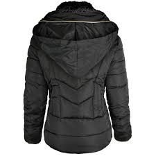 womens las quilted winter coat puffer fur collar