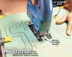 metal cutting jigsaw blades. photo 6: clamp metal between plywood to cut it. cutting jigsaw blades