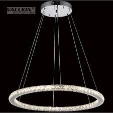 Großhandel Dimmbare Diamant Runde Ring Kronleuchter Led Pendelleuchte Für Küche Suspension Leuchte Glanz Wohnzimmer Lampe Kreise Hängeleuchten Lampen