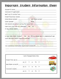 Famous Student Information Sheet Template For Teachers Gift ...