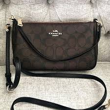 Authentic Coach Top Handle Pouch In Signature F36674 - Brown Black