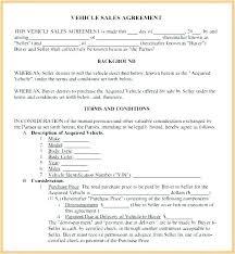 Used Car Sale Agreement Template Used Vehicle Sales Agreement Template