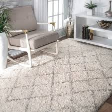 white wool shag rug. Enthralling Nuloom Moroccan Trellis Rug In NuLOOM Soft And Plush Natural Shag 4 X 6 White Wool