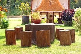 tree stump furniture ideas. stumpery art decorating tree stump with flowering plants table and seats recycling stumps furniture ideas o