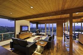 Mid Century Modern Living Room Design Large Blue Lampshade Pendant Lamp Mid Century Modern Decor Cream