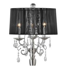 crystal chandelier floor lamp with black drum shade in satin nickel alt3
