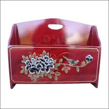 red lacquered furniture. Red Oriental Bird And Flower Magazine Rack Front View Lacquered Furniture