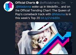 Top 20 Official Chart Medellin Debuts On Top 20 In Uk Trending Charts Madonna