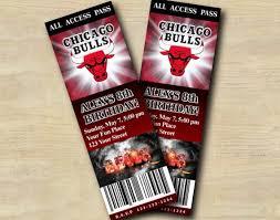 Party Ticket Invitations Enchanting CUSTOM BIRTHDAY PARTY INVITATIONS Chicago Bulls Ticket Invitation T48