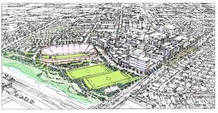 artist s rendering of the stadium concept for the willowick site garden grove and santa ana are seeking a master developer for the 101 5 acre site