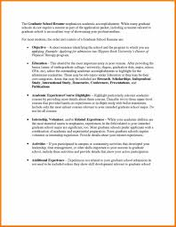 Resume For Grad School Admission Objective For Graduate School