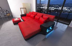 leather sofa san go with led red black