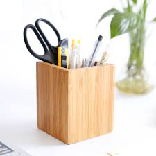 Simple Style Bamboo Square Shape Pencil Storage Box Table brush barrel  Desktop Office Organizer Stationery Container Pen Holder-in Storage Boxes &  Bins from ...