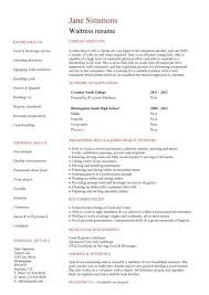 waitressing cv student entry level waitress resume template