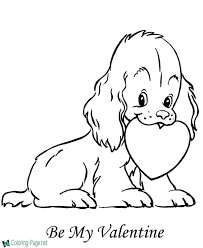 valentine coloring. Perfect Valentine Puppy Valentine Coloring Page On