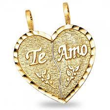 14k yellow gold broken heart te amo pendant breakable love charm two piece
