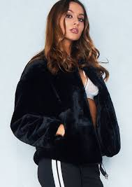 jess black faux fur jacket